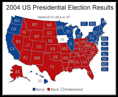 United States Political Map Red Blue States