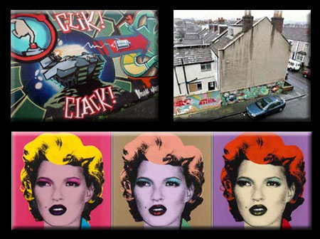 Banksy Mural With House and Kate Moss ala Warhol